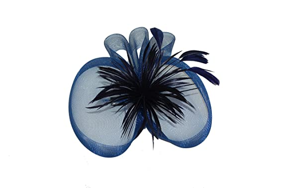 99b4fb6f6fc43 GIZZY® Ladies Stylish Navy Blue Split Disc, Feather Flower Fascinator on  Hair Clip.: Amazon.co.uk: Clothing