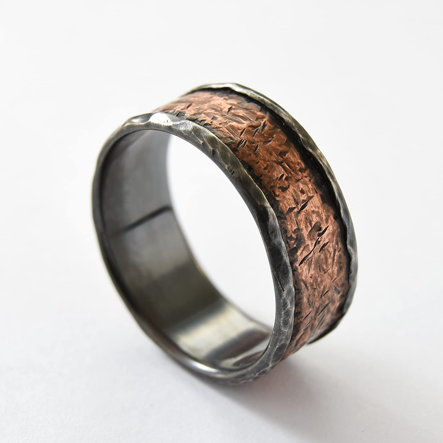 Rustic copper silver band, Oxidized Silver, Copper men band, Wide Infinity band, men wedding band, everyday ring, mixed metals band, Durable ring for mend