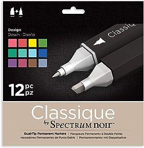 Spectrum Noir Classique Design Alcohol Marker Dual Nib Pens Set Pack of 12