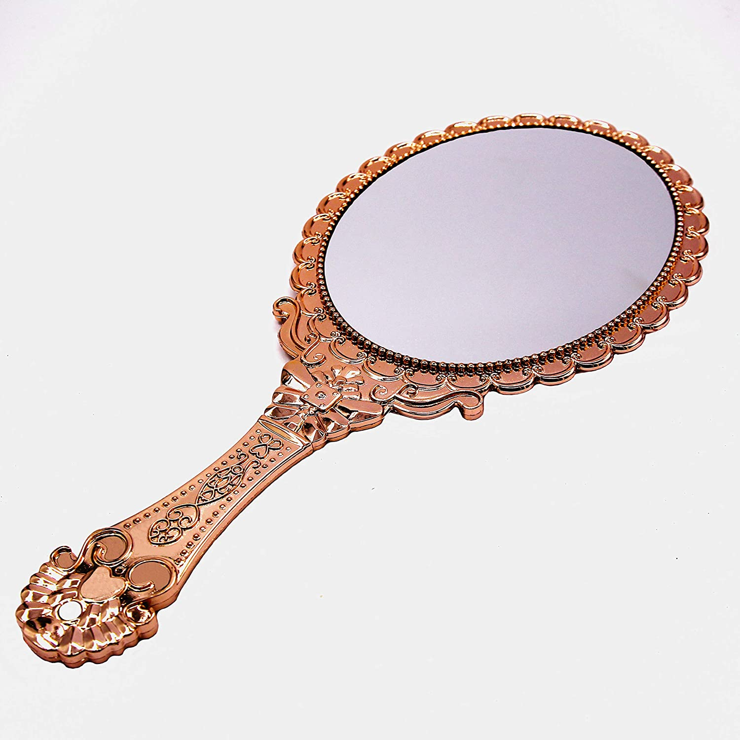XPXKJ Hand Mirror Vintage Handheld Mirror with Handle Vanity Makeup Mirror Travel Mirrors (oval, Rose Gold)