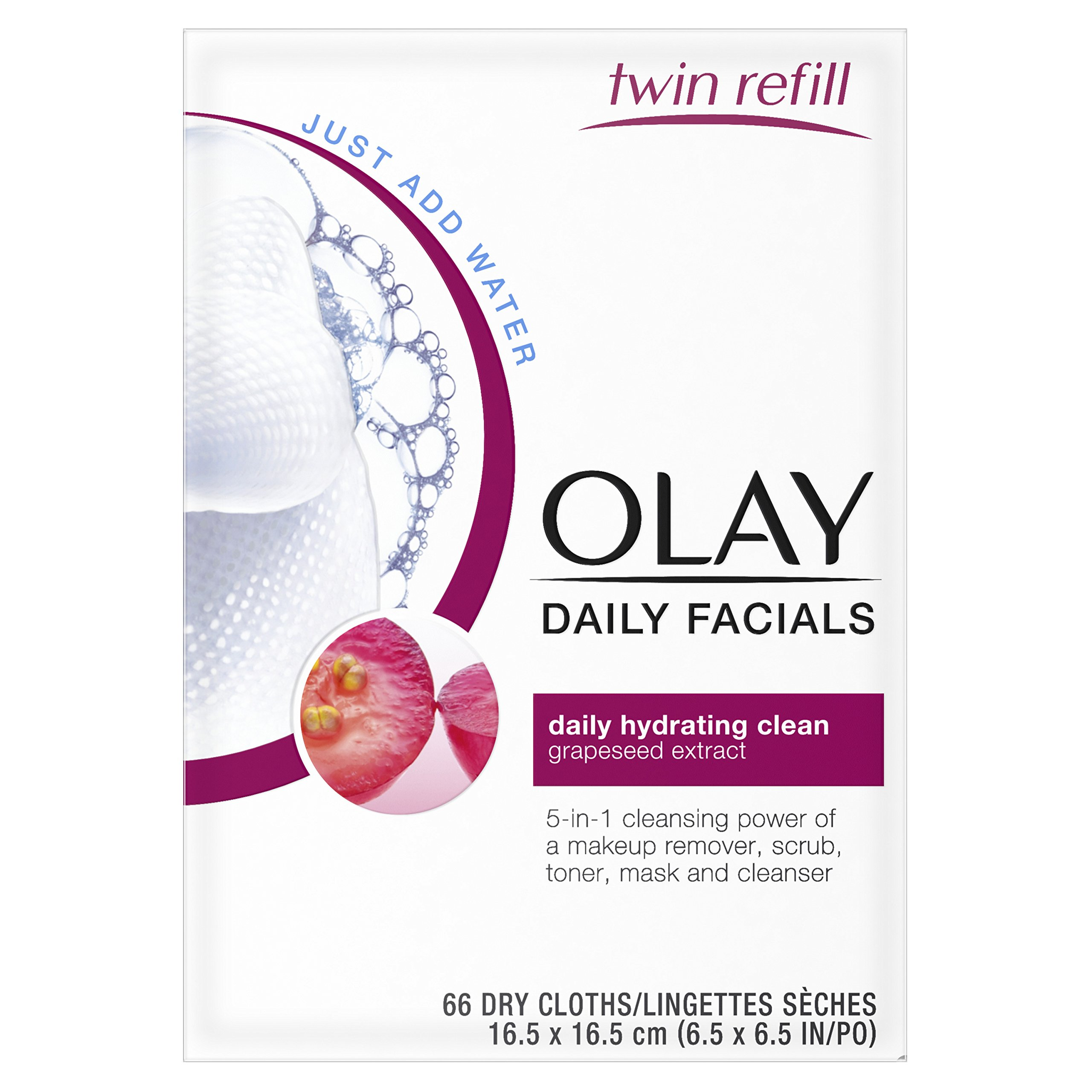 Olay Daily Facials, Daily Clean Makeup Removing Facial Wipes, 5-in-1 Water Activated Cloths, 66 count by Olay