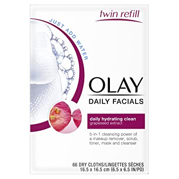 Olay Daily Facials Daily Clean Makeup Remover Wipes, 4-in-1 Water Activated