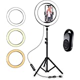 "TalkWorks 10"" Selfie Ring Light Halo LED Circle Phone Holder Tripod Stand for iPhone, Android - Great for Live Stream, Makeup"