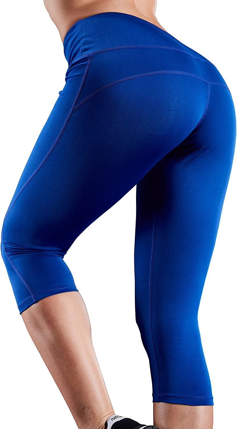 Neleus Womens Tummy Control High Waist Capri Leggings Yoga Pants with Pockets