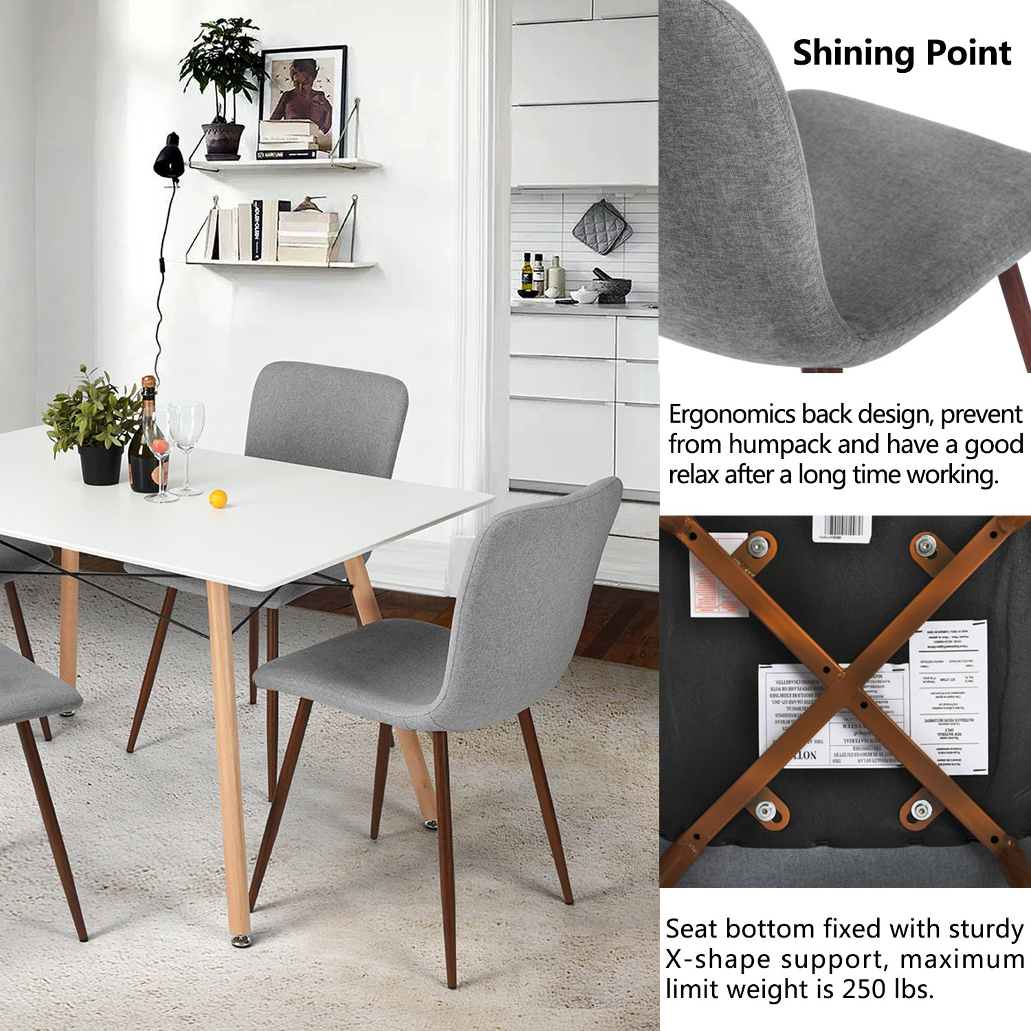 Amazon.com   Kitchen Dining Chairs Set Of 4 Coavas Fabric Cushion Side  Chairs With Sturdy Metal Legs For Dining Room, Grey   Chairs
