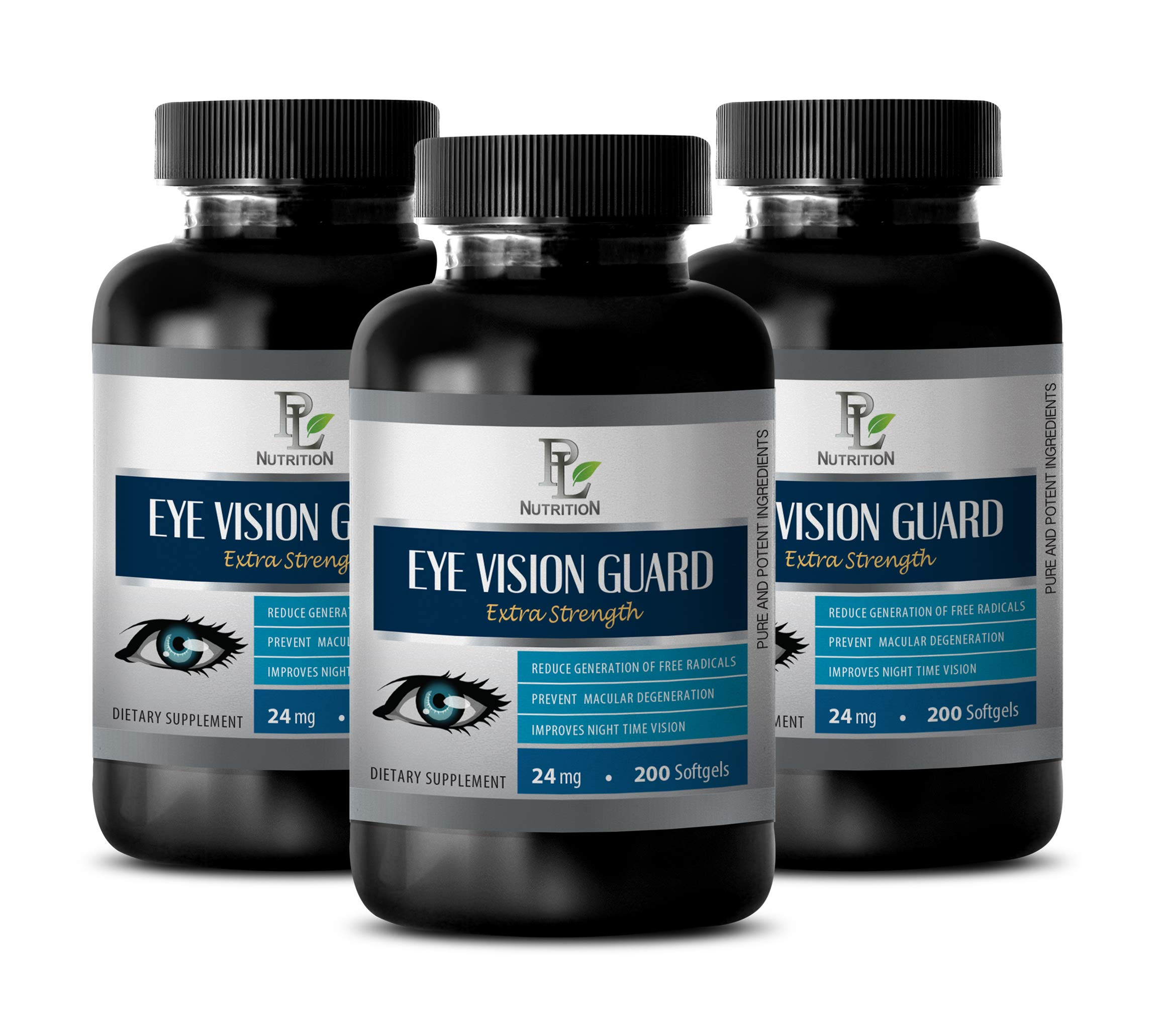 Eye Supplements for Adults Natural - Eye Vision Guard Extra Strength Dietary Supplement - Bilberry Herbal Supplement - 3 Bottles 600 Softgels