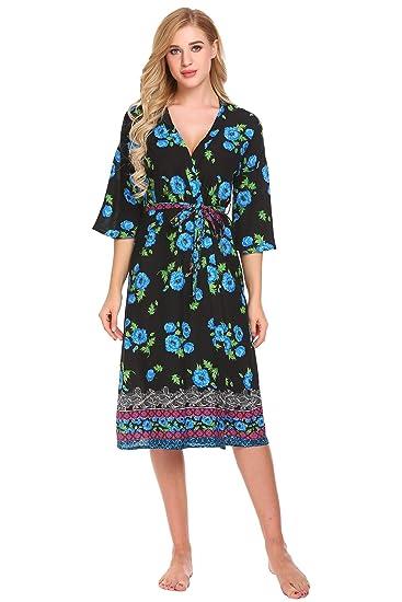 Ekouaer Womens Bathrobes Print Long Lightweight Spa Kimono Robes Sleepwear ( Black d60aeb311