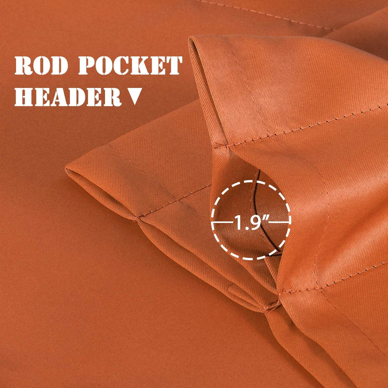 52 inch by 18 inch Set of 4 Pack Burnt Orange H.VERSAILTEX Room Darkening Curtain Valances for Windows Rod Pocket Valances for Bedroom