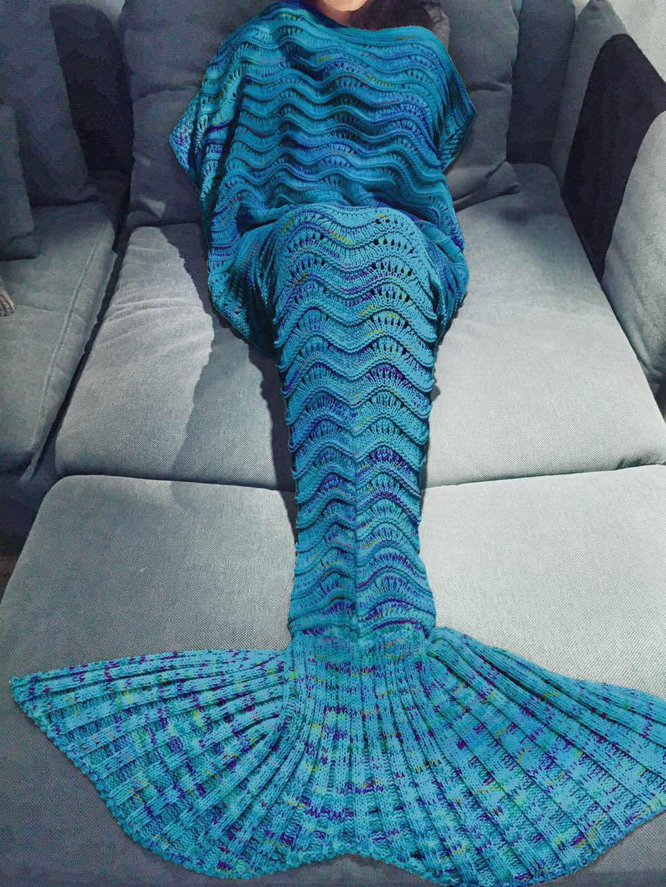 Whoishe Cozy Knitted Crocheted Adult Mermaid Tail Blanket with Wave Pattern Couch Blanket Home Decoration Birthday Saint Valentine's Day Gift ( Color Royal Blue)