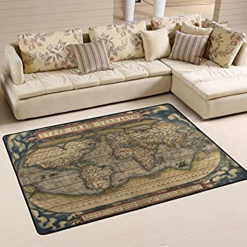 Amazon.com: LORVIES World Map Area Rug Carpet Non-Slip Floor ...