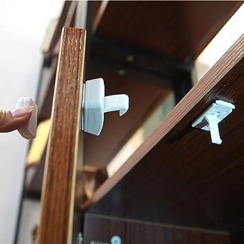 4 Locks /& a Key 3M Adhesive Magnetic Cabinet Locks Child Safety No Drill Hidden