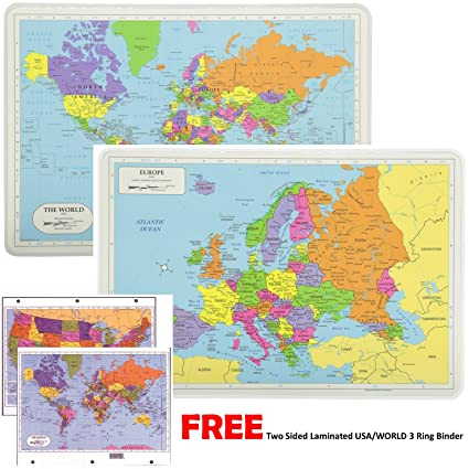 Painless Learning Educational Placemats For Kids Laminated World and Europe  Map Set Free Two Sided UNITED STATES/WORLD Maps 3-Ring Binder Washable