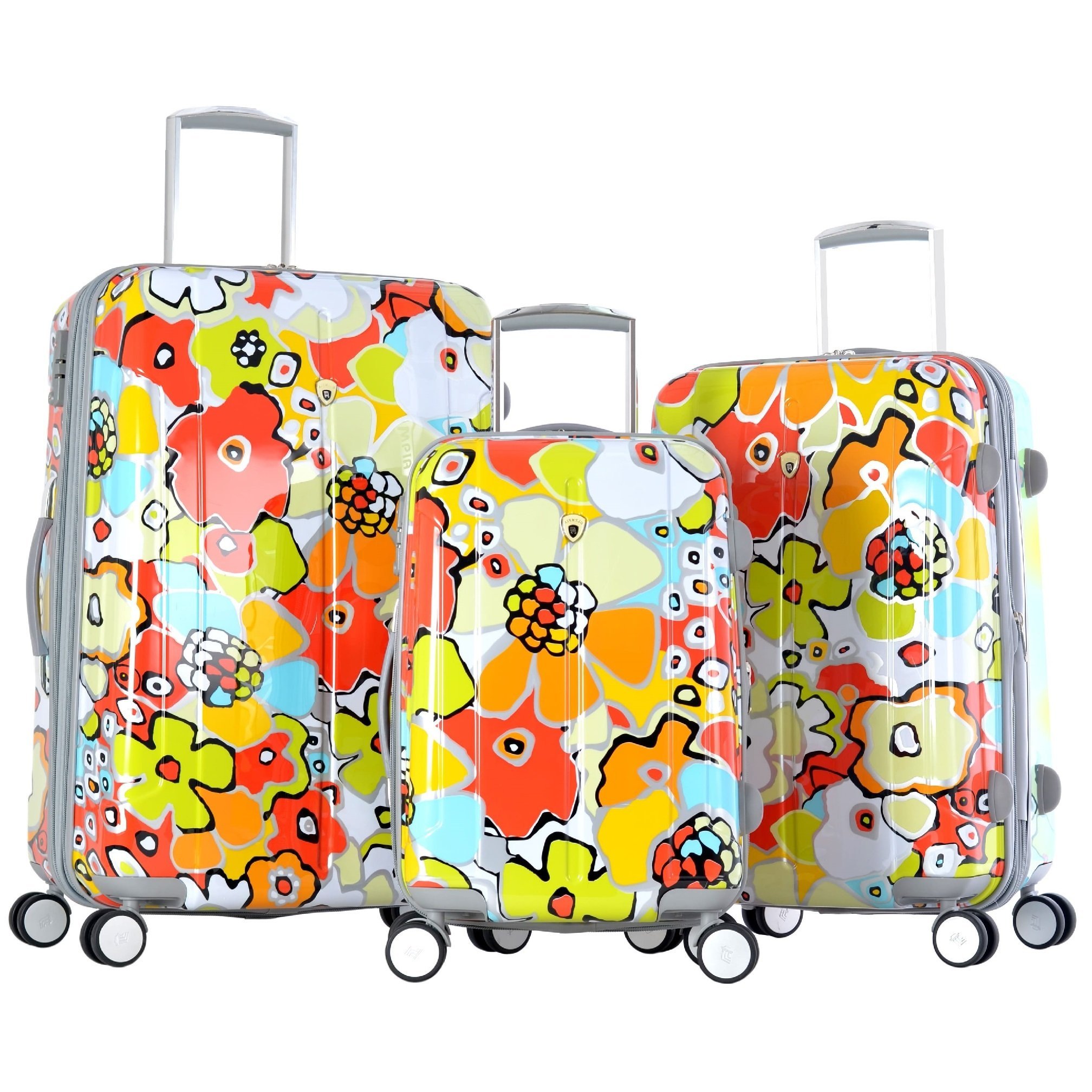 3 Piece Bright Tropical Flowers Pattern Rolling Lightweight Expandable Carry On Luggage Set, Vibrant Garden Floral Design, Hardside, Fashionable, Multi Compartment, Hard Travel Suitcases, Multicolor by S & E