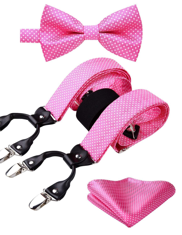 HISDERN Polka Dot 6 Clips Suspenders and Bow Tie Set Y Shape Adjustable Braces Pink by HISDERN