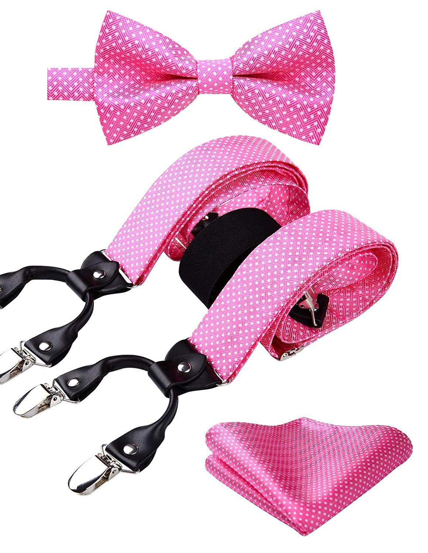 HISDERN Solid 6 Clips Suspenders /& Pre Tie Bow Tie and Pocket Square Set Y Shape Adjustable Braces