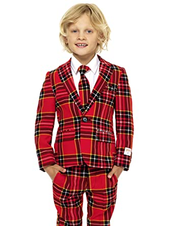 opposuits the lumberjack suit for boys comes with jacket pants and tie in classic plaid