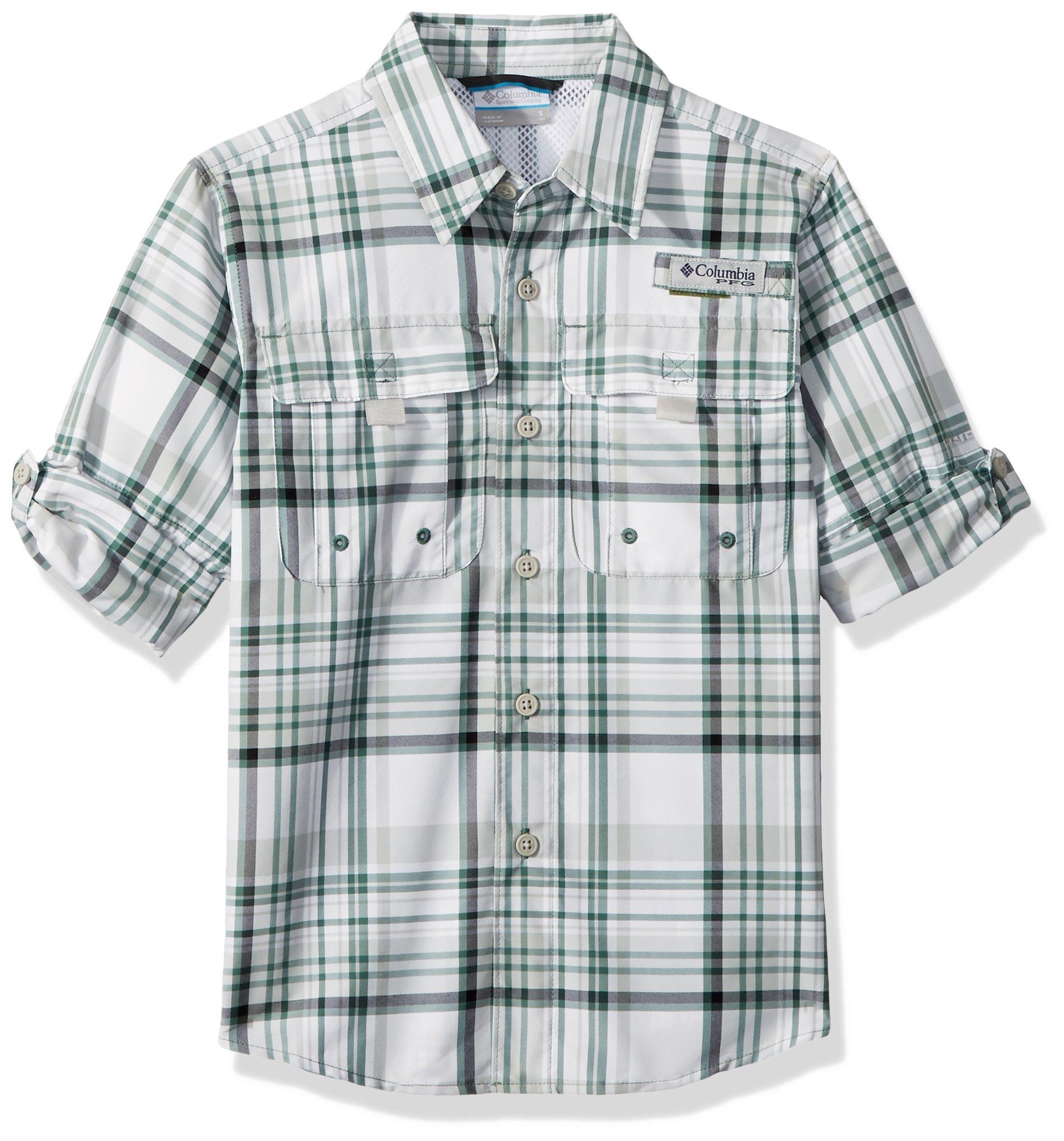 Columbia Little Boy's Super Bahama Long Sleeve Shirt, X-Small, Thyme Green Plaid
