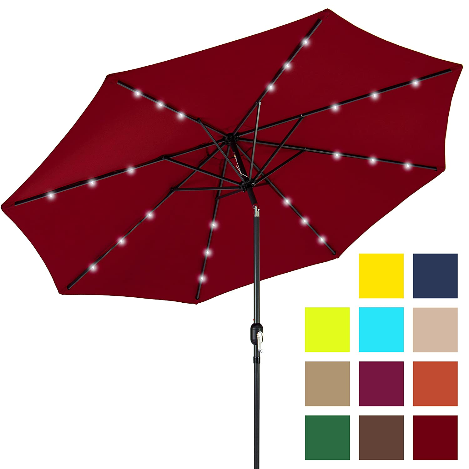 Best Choice Products 10 Ft Deluxe Patio Umbrella W/Solar LED Lights