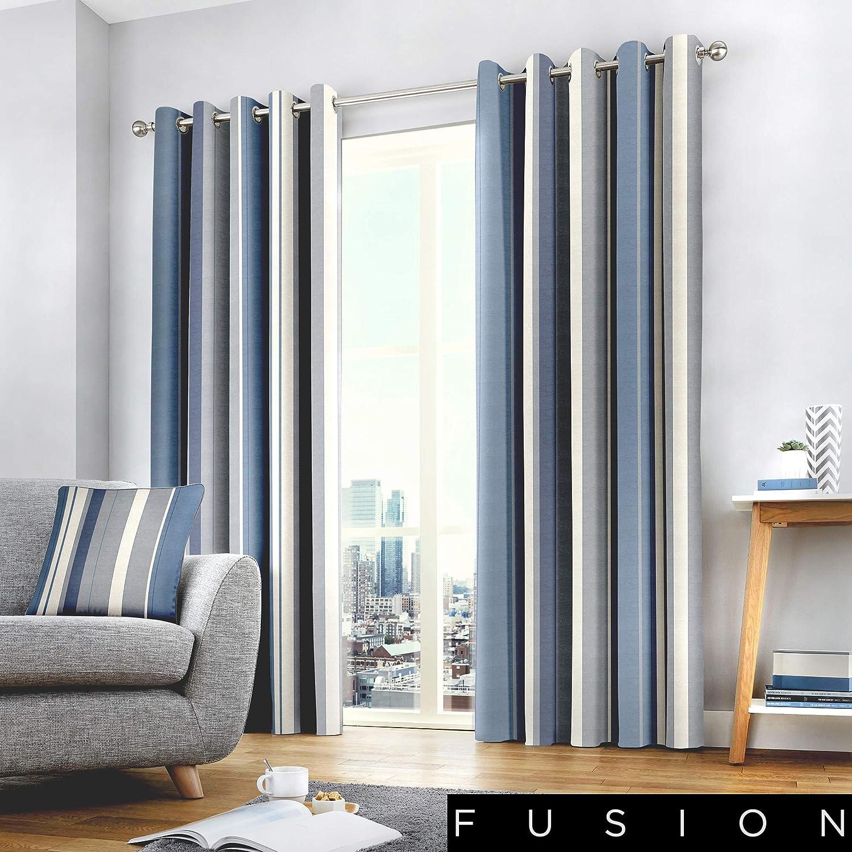 117 x 137cm 100/% Coton Curtains: 46 Width x 54 Drop Fusion Whitworth Housse de Coussin 100/% Coton Motif Rayures Bleu