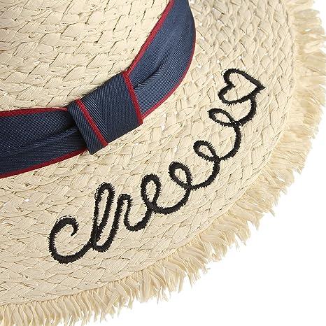 be018033d2de7 GEMVIE Sombrero Panamá Niños Ala Ancha Cowboy Gorro Paja Playa Bordado  Circunferencia Ajustable 52cm Beige  Amazon.es  Ropa y accesorios