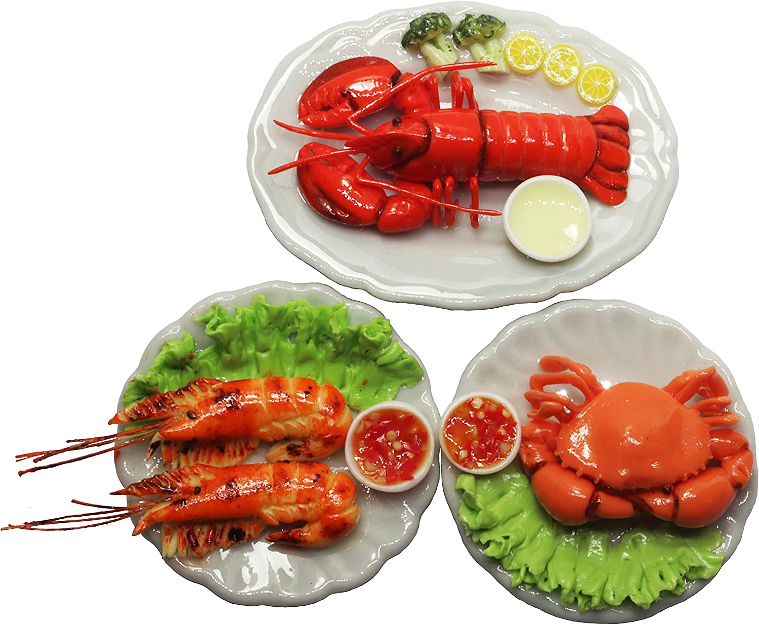 ThaiHonest 3 Assorted Dollhouse Miniature Mix Seafood with Lobster,Tiny Food Dollhouse Accessories for Collectibles