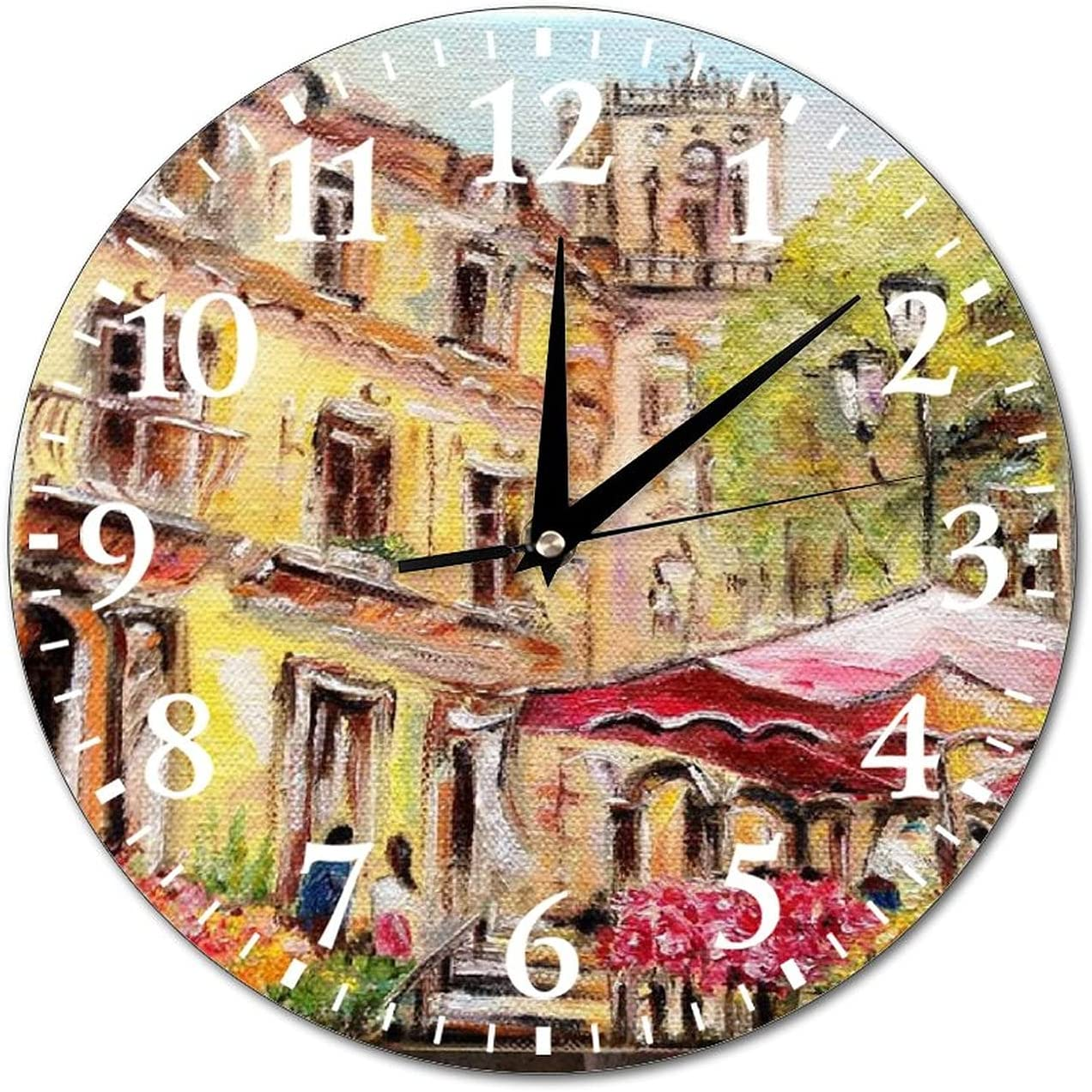 VinMea Wall Clock Oil Painting Marche Aux Fleurs Hanging Clock Silent Non Ticking Decorative Home Clock for Living Room Bedrooms,12 Inch