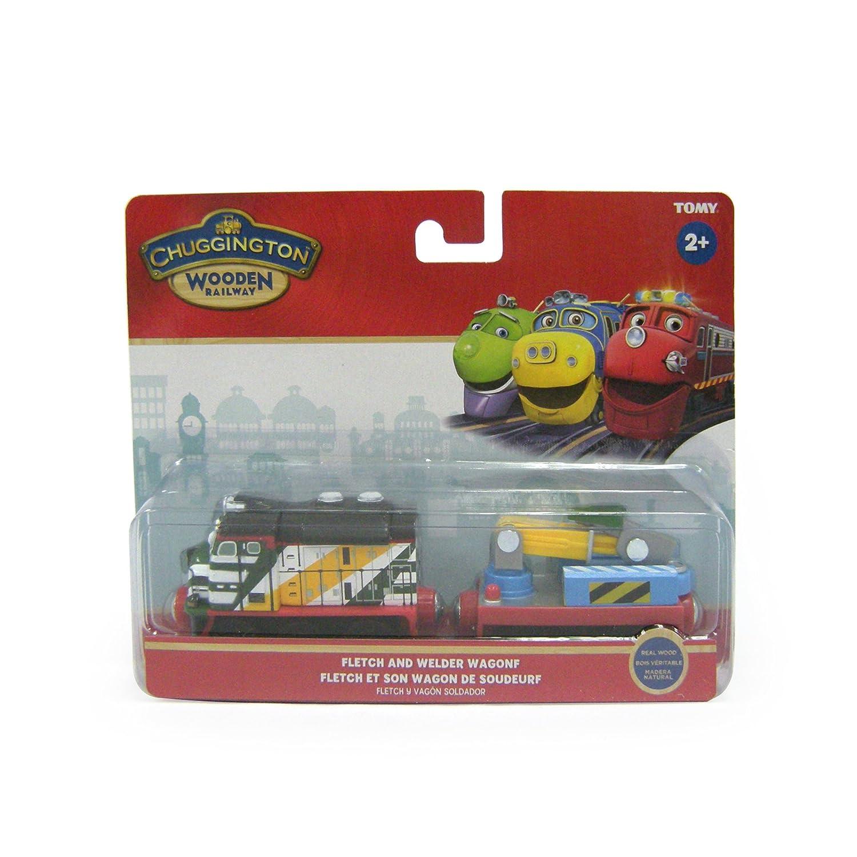 Amazon.com: Chuggington Wooden Railway Fletch with Welder Wagon: Toys & Games