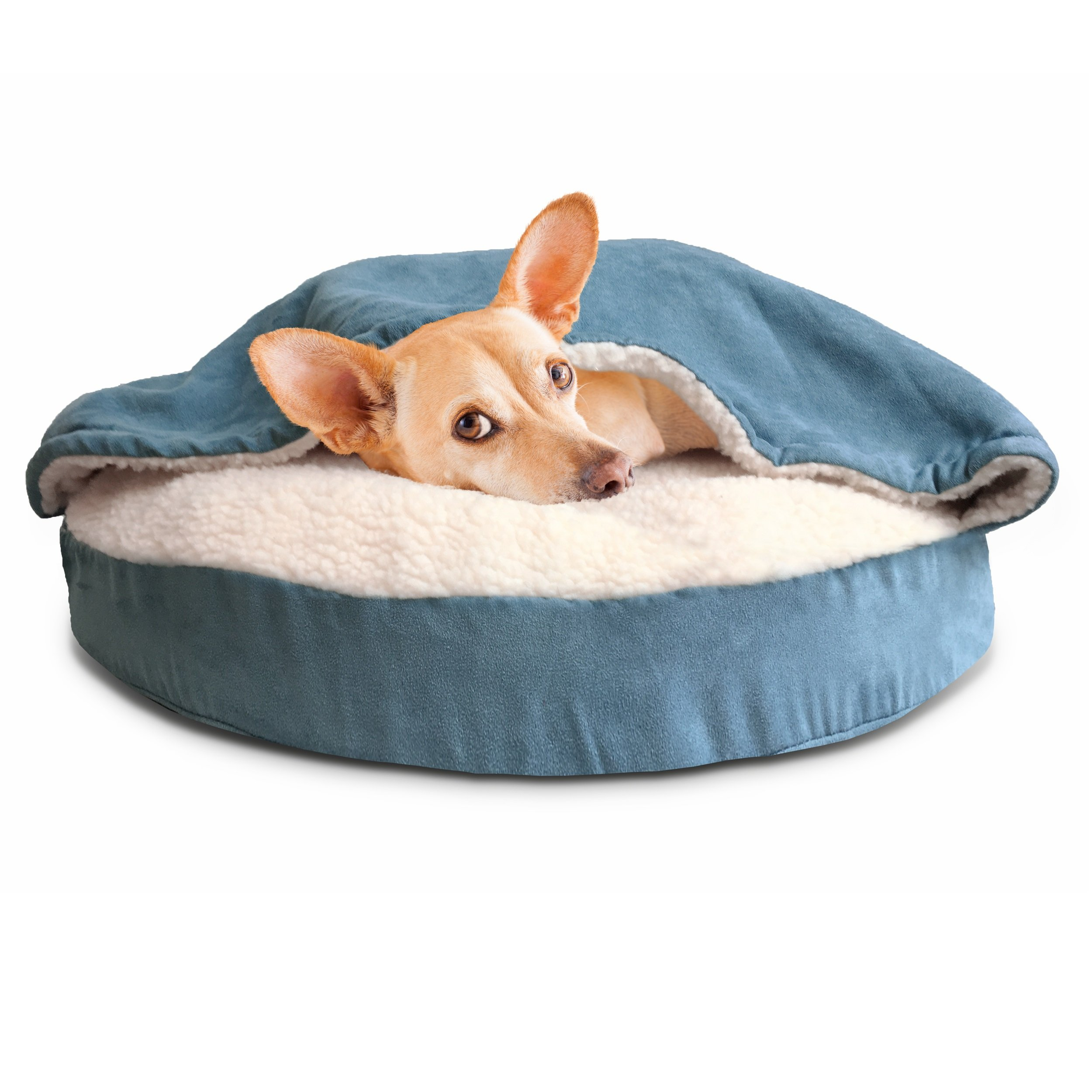 FurHaven Round Snuggery Burrow Pet Bed Blue 26
