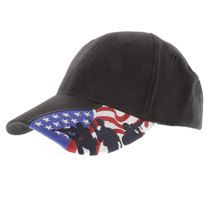 Military - US Marine Corps Embroidered USA Flag Marine Soldier Silhouettes Adjustable  Baseball Cap a98de331add7