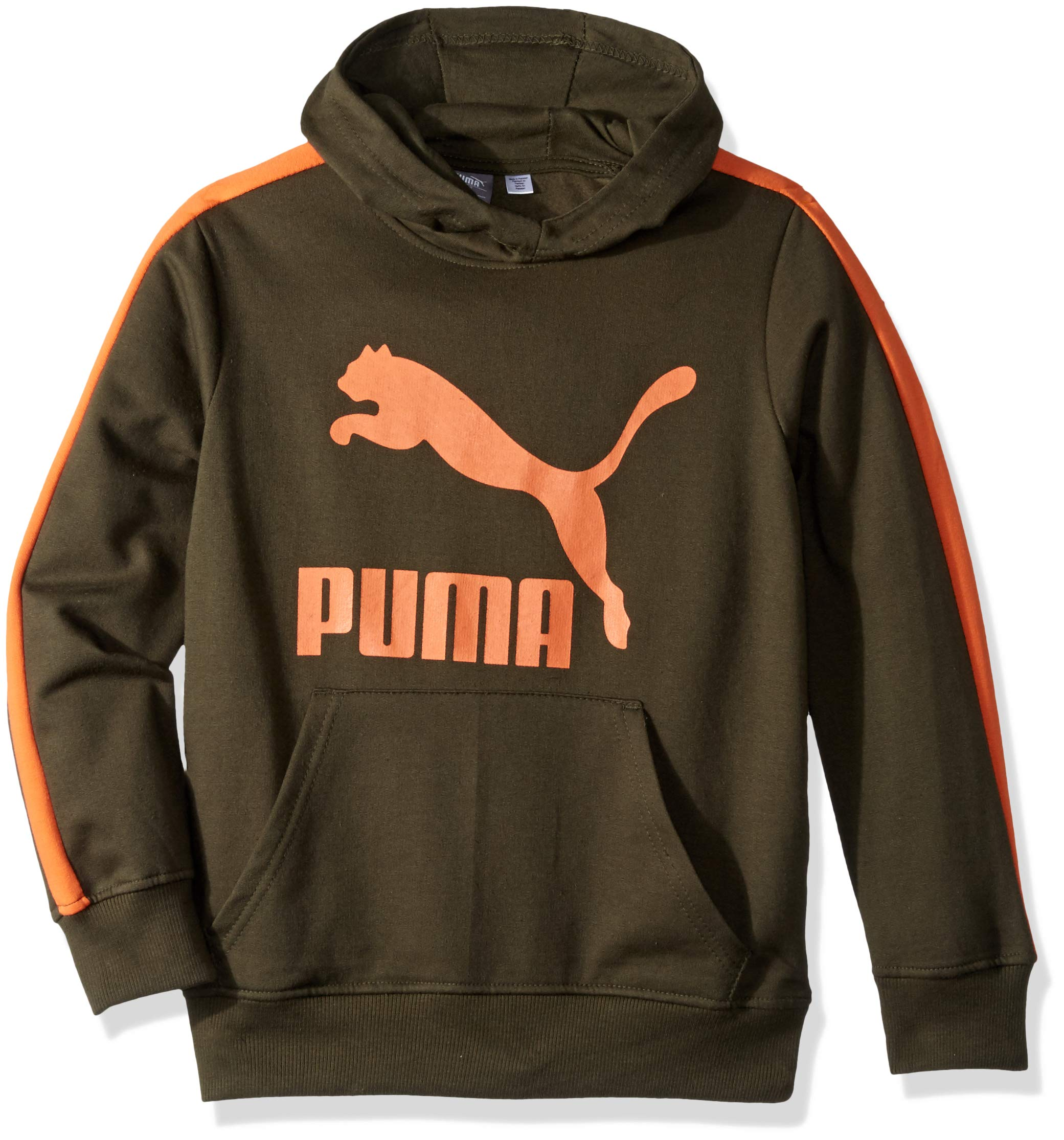 PUMA Big Boys' Fleece Pullover Hoodie, Forest Night, M