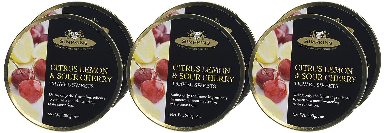 Simpkins Citrus Lemon /& Sour Cherry Travel Sweets 200g Tin 1 2 3 6 12 Packs