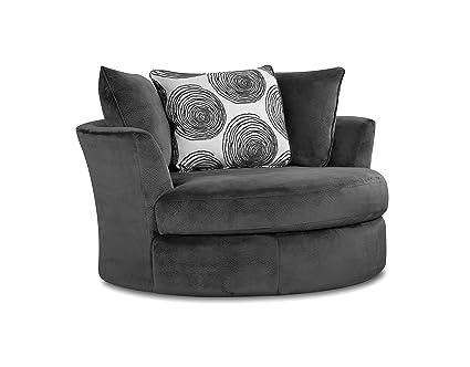 Superbe Chelsea Home Furniture Rayna Swivel Chair, Groovy Smoke/Big Swirl Smoke