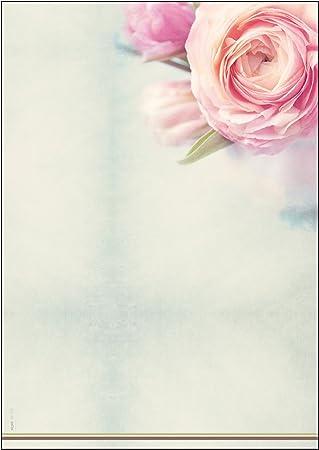 SIGEL DP004 Papel de cartas, 21 x 29,7 cm, 90g/m², Rosas, rosa y verde, 50 hojas
