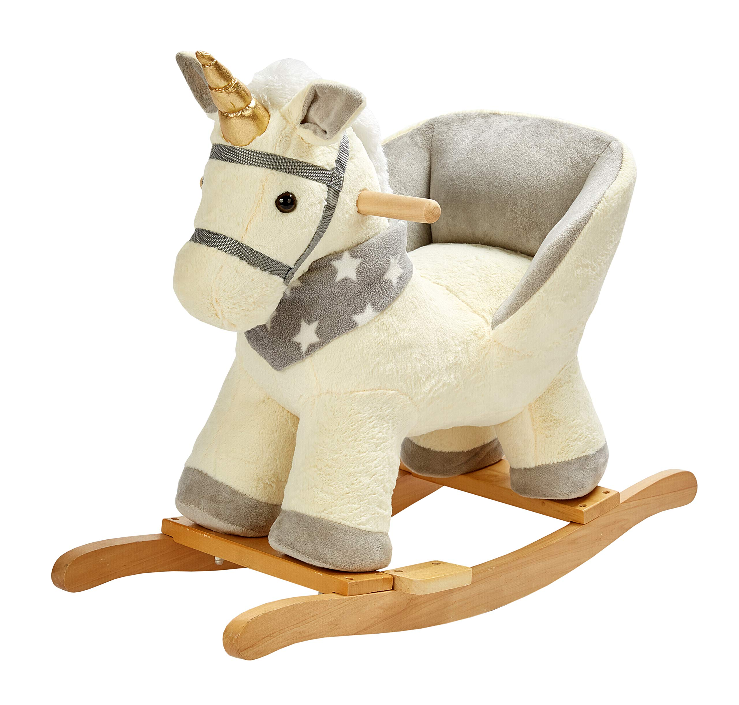 Rock My Baby Rocking Horse Beige Unicorn with Chair,Plush Stuffed Animal Rocker,Wooden Rocking Toy Unicorn/Baby Rocker/Animal Ride on,Home Decor,for Girls,Indoor&Outdoor (Beige Unicorn)