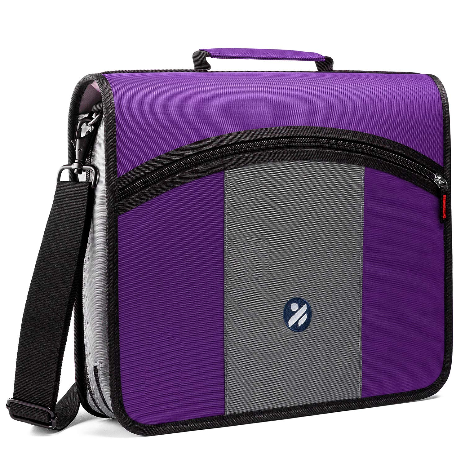 Kinbashi 3-Inch Zipper Binder, Round Ring Binder with Expanding Files, Handle and Shoulder Strap, Purple by Kinbashi