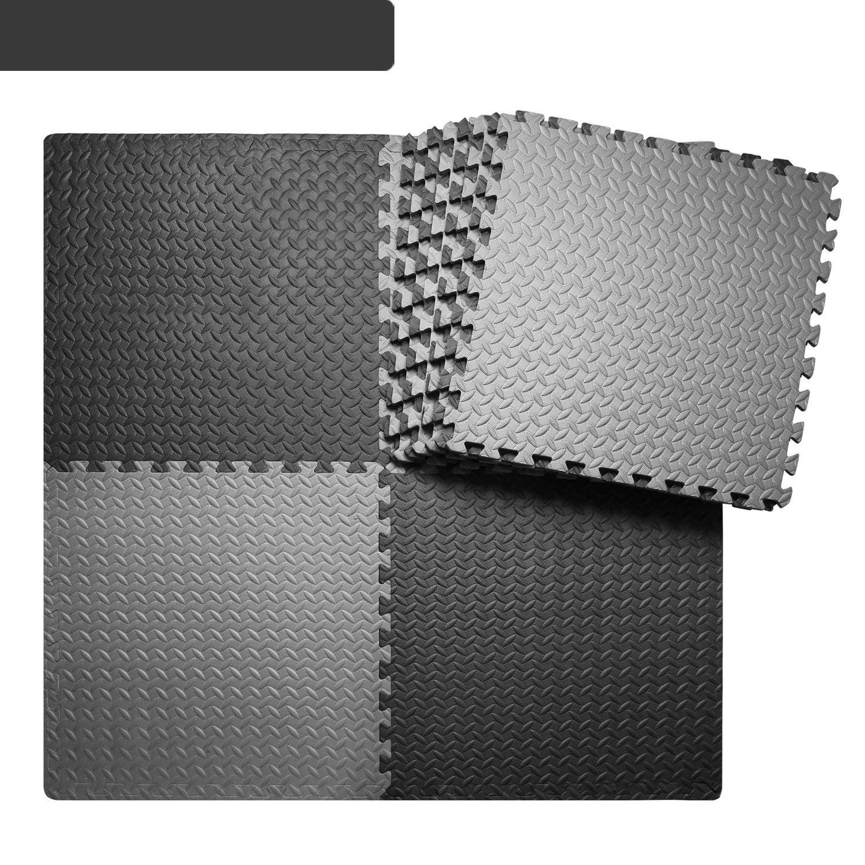 BEAUTYOVO Gym Mat 12Tiles Gym Flooring Mat Puzzle Exercise Mats Interlocking Foam Mats with EVA Foam Floor Tiles for Gym Equipment Workouts, Black/Gray