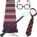 SCHOOL BOY WIZARD 4 PIECE SET. Long Scarf + Tie + Miraculous Magic Wand + Glasses