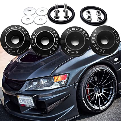 Xpork Bumper Fender JDM Quick Release Fastener Screw Car Trunk Bolt Loop Ring Kit Black Auto Accessories