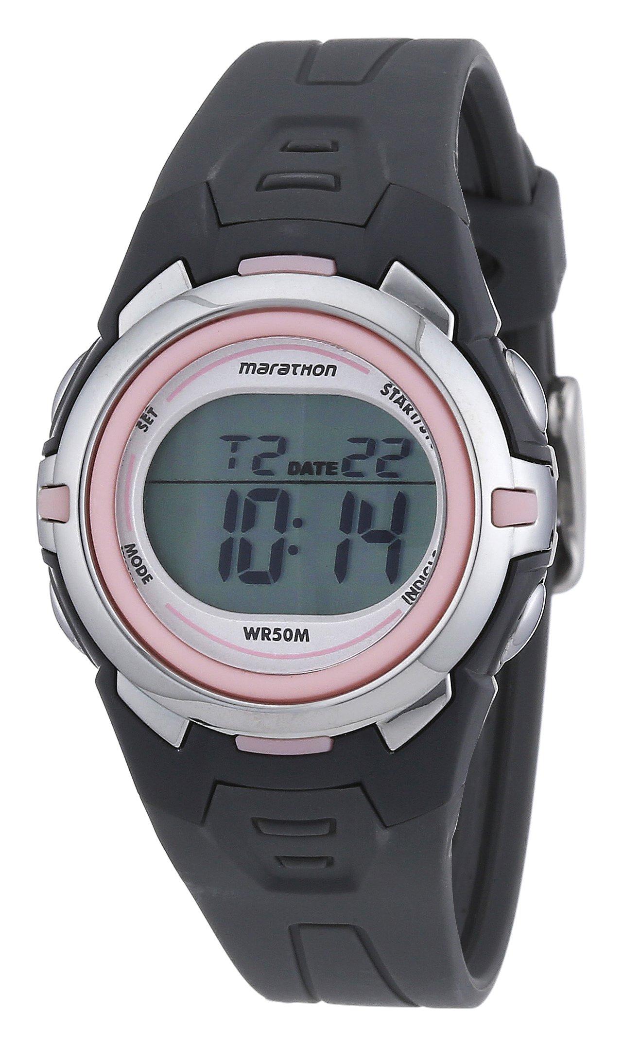 Marathon by Timex Women's T5K360 Digital Mid-Size Dark Gray/Pink Resin Strap Watch