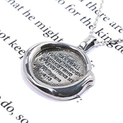 Philippians 4:13 Bible Verse Prayer 925 Sterling Silver Pendant 18 inch Chain Necklace