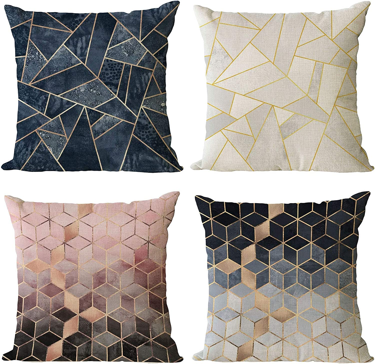 Neatee Living Set of 4 Geometric Decorative Throw Pillow Covers Cotton Linen Square Pillow Cases 20x20 Inch Outdoor Sofa Couch Home Bed Decor Cushion Covers (20 by 20)
