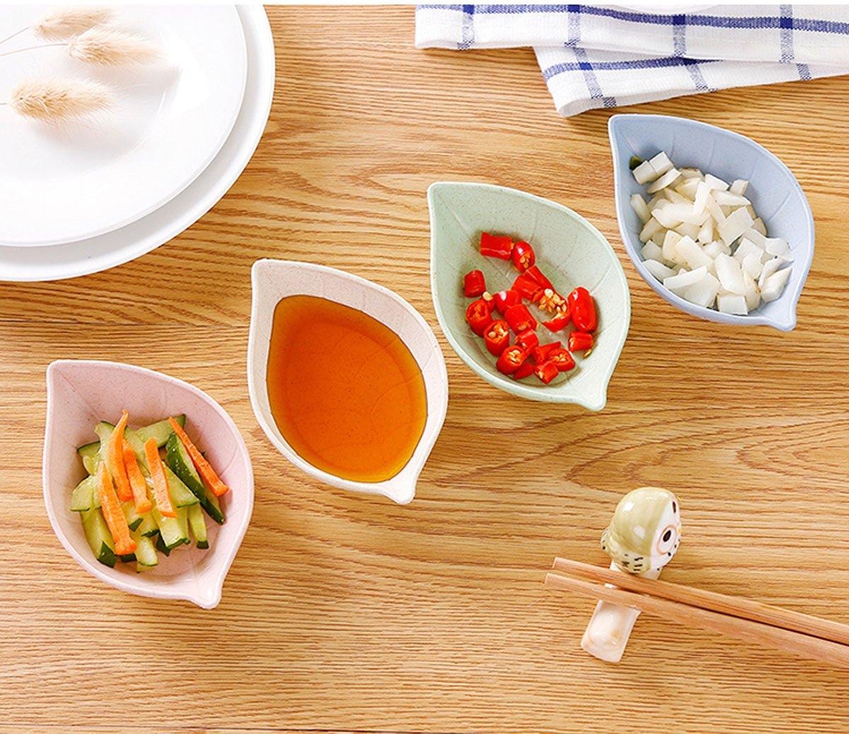 Condimento Plato - Vajilla para aperitivos plato japonés vinagre especias ensalada Salsa de soja Wasabi Sushi cuencos, Servicio para 4: Amazon.es: Hogar