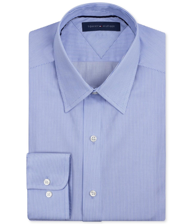 Tommy Hilfiger Mens Striped Button Up Dress Shirt Blue 14 12 At