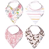 "Baby Bandana Drool Bibs for Drooling and Teething 4 Pack Gift Set for Girls ""Olive"" by Copper Pearl"