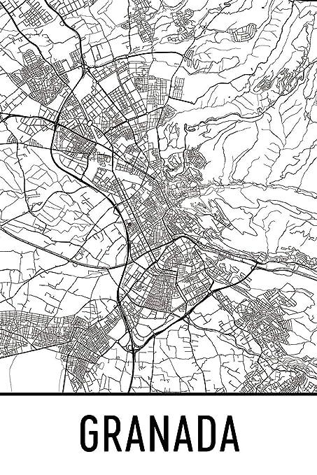 Map Of Spain Granada.Amazon Com Granada Print Granada Art Granada Map Granada Spain