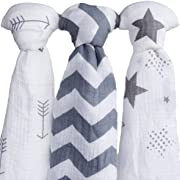 Muslin Swaddle Blankets| 100% Soft Organic Cotton Swaddle Blanket| muslin swaddle blanket| swaddle blankets| baby swaddle blankets| 3 Pack Set 47  x 47  Gray combo receiving blankets Girl or Boy| swad