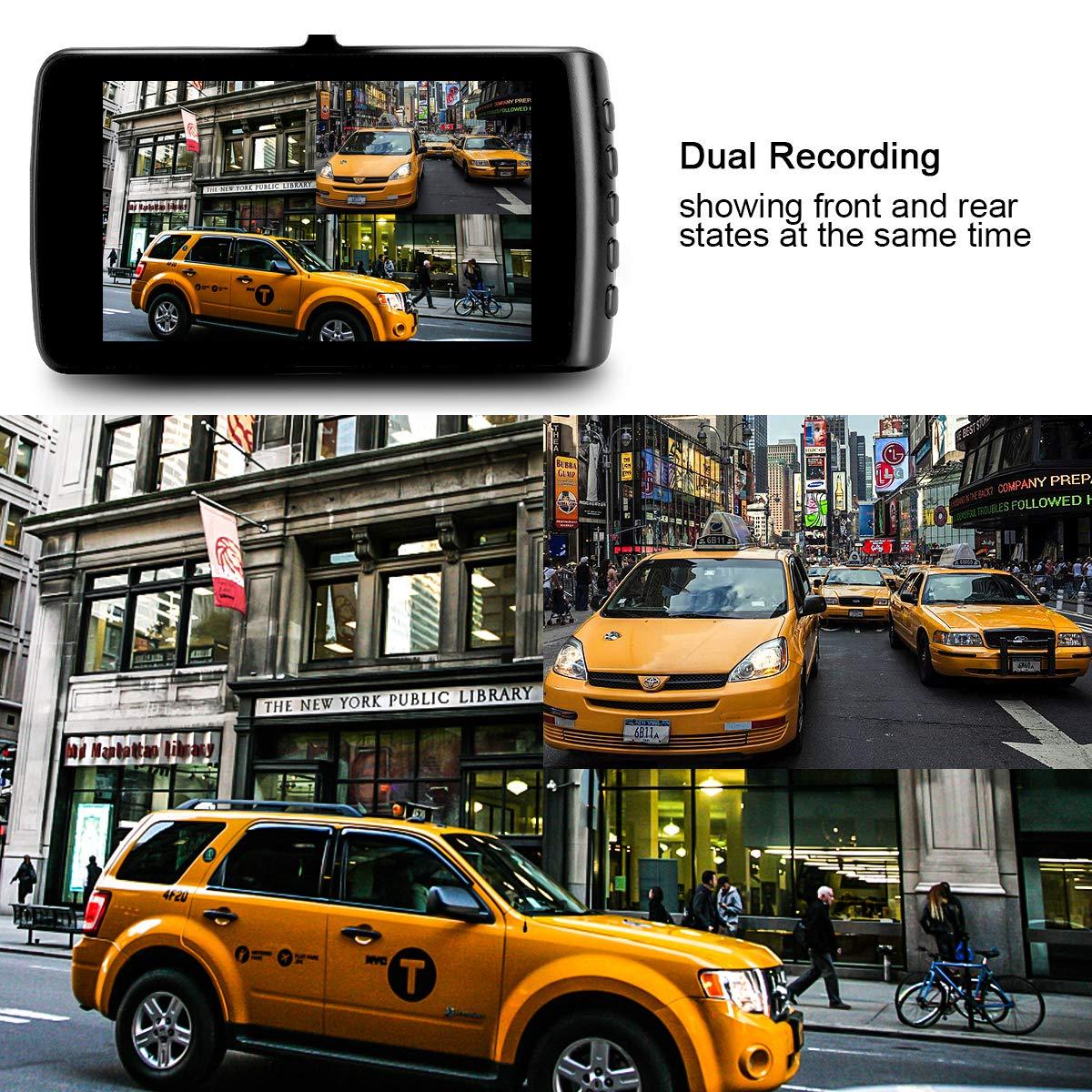 Black Black Wide-Angle Car Video Recorder with 3.7 LCD inch Display Video G-Sensor Loop Recording Car Camera Dashboard Camera Recorder Car DVR 1080P HD Night Vision Dash Cam