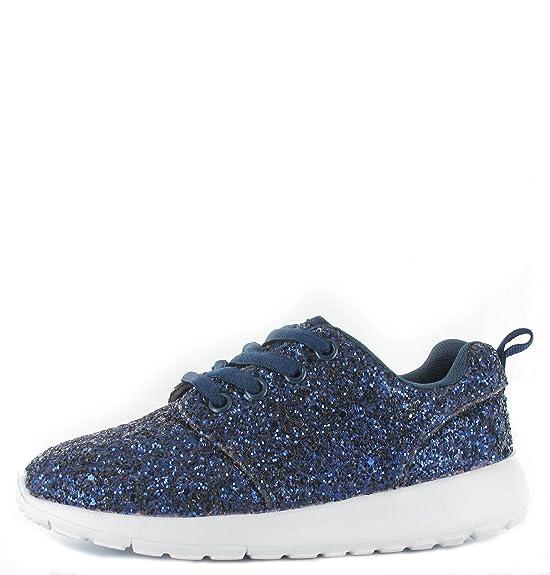 SHUMAD Glitter Trainers - Zapatillas para niña, color rosa, talla 30 EU