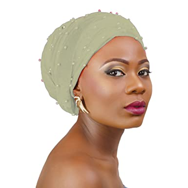 Turban Classic velvet Turban head wear, Chemo cap (Silver/off white)