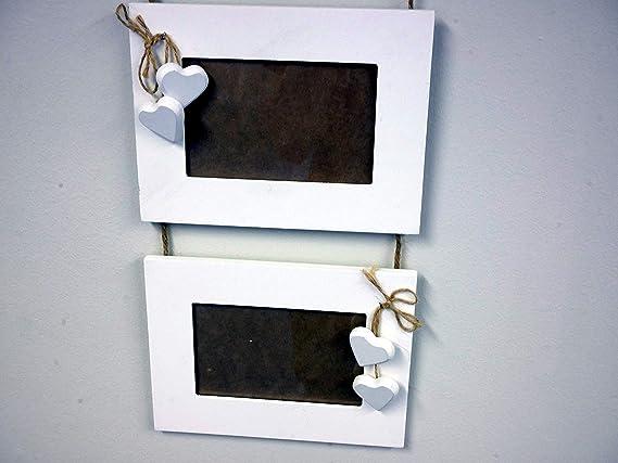 Homezone Madera Shabby Chic Madera Flotante Nivel 3 Colgante Corazones Blancos Rústico Marco de Fotos con Estilo Colgante Marco de Fotos Múltiple Capas ...